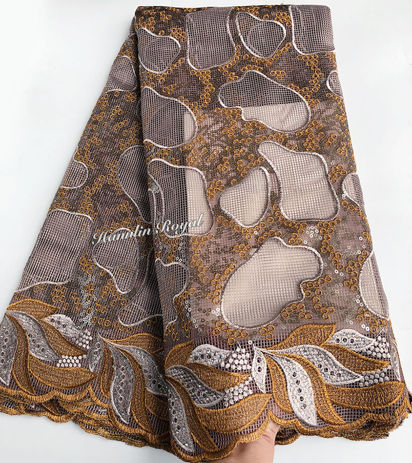 Copper 5 yards exclusive African lace irregular embroidery french lace fabric sewing garment fabric with lots of sequins-in Lace from Home & Garden    1