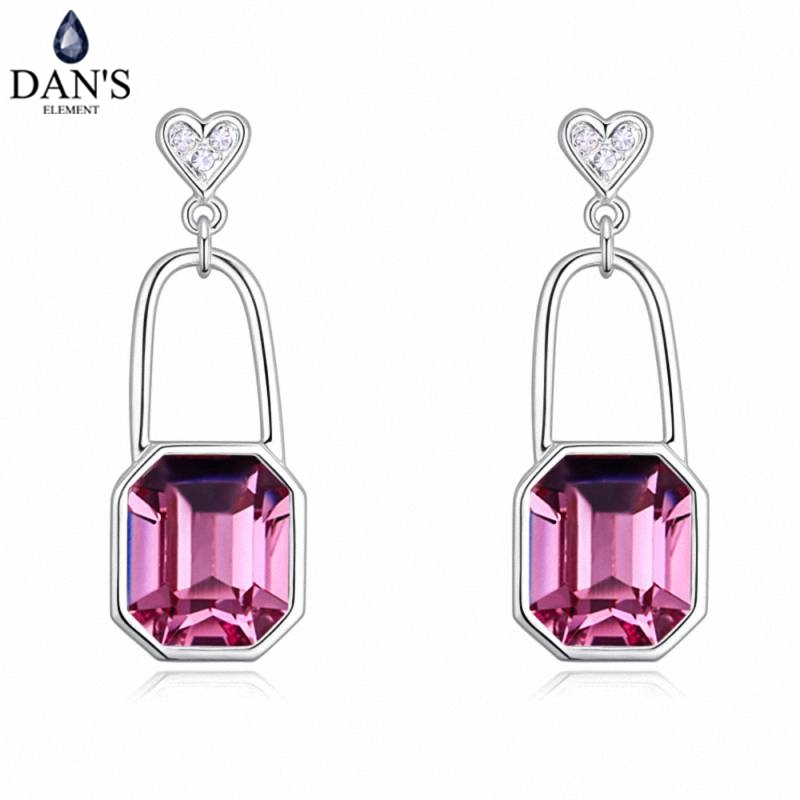 DANS 4 Colors Real Austrian crystals Stud earrings for women Earrings s New Sale Hot Round 130349