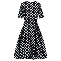 ROPALIA Elegant Vintage Womens Polka Dot Belted Tunic Pinup Wear To Work Office Casual Party A Line Dress 2
