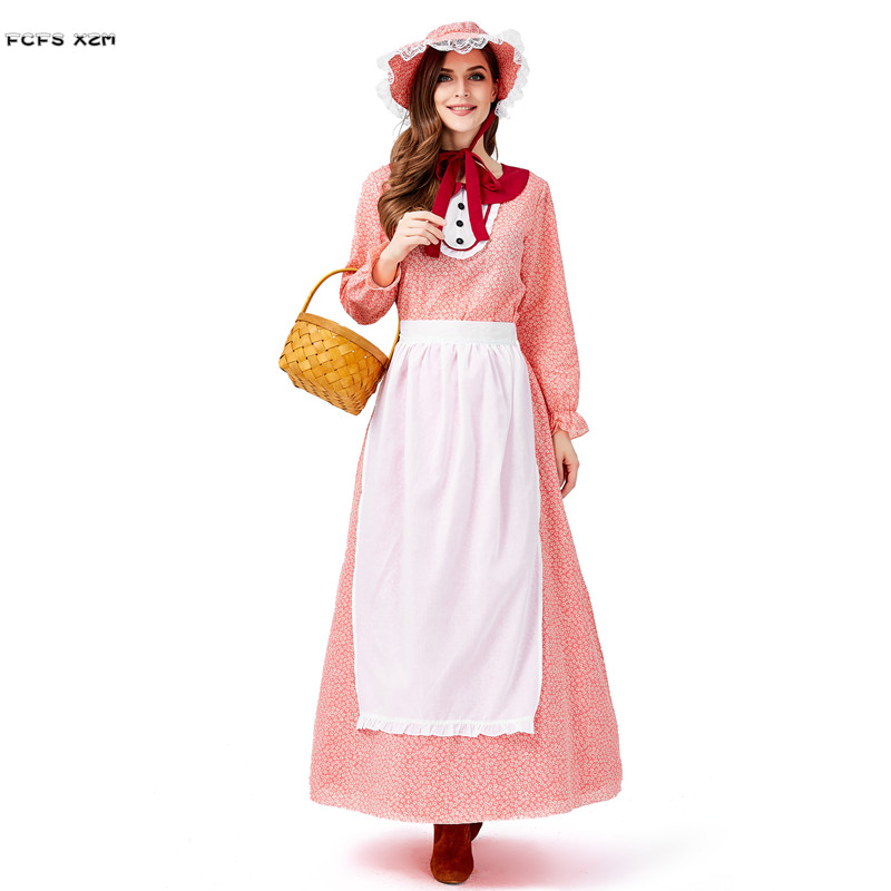 Farmer Women Countrywoman Cosplays Female Halloween Maid Young Lady Costumes Carnival Purim Nightclub Bar Role Play Party Dress