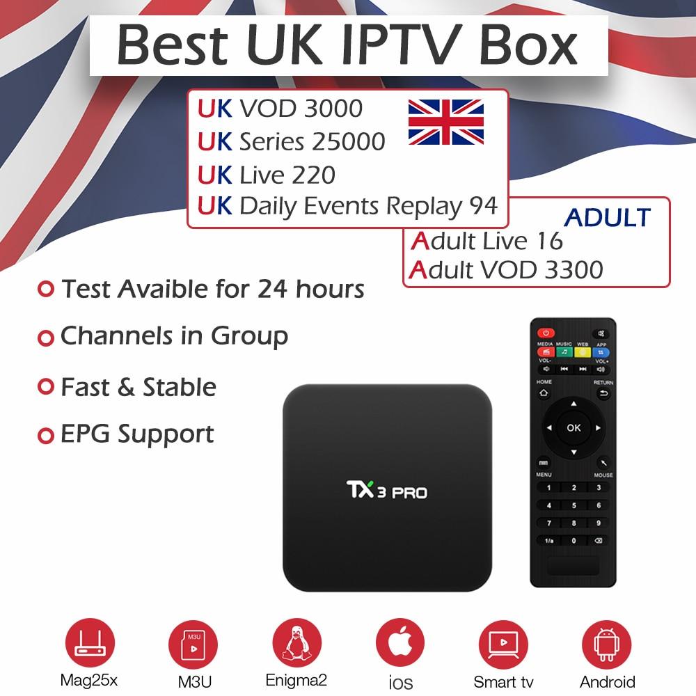 TX3Pro Smart IPTV Box 1 Year Super UK Adult Europe IPTV ...