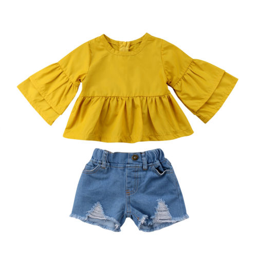 2Pcs Toddle Child Baby Girls Kids Set Outfits Half Sleeve Sleeves Ruffle Tops Shirt Denim Shorts Casual Clothes 6M-4T2Pcs Toddle Child Baby Girls Kids Set Outfits Half Sleeve Sleeves Ruffle Tops Shirt Denim Shorts Casual Clothes 6M-4T