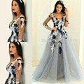 2016 Hot Sale Custom Made Colorful V Neck Appliqued Lace Long  Sleeve Sexy Backless A Line Tulle Floor Length Celebrity Dresses
