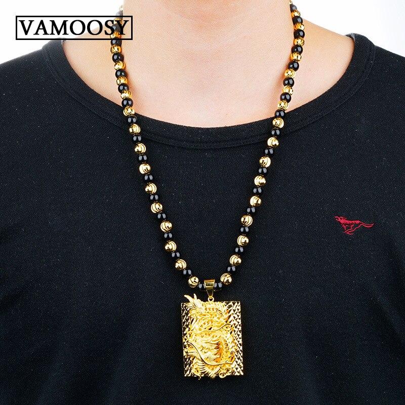 Cadeaux en gros soigneusement sculpté chinois jaune 24 K or Dragon noir obsidienne collier pendentif hommes bijoux livraison gratuite