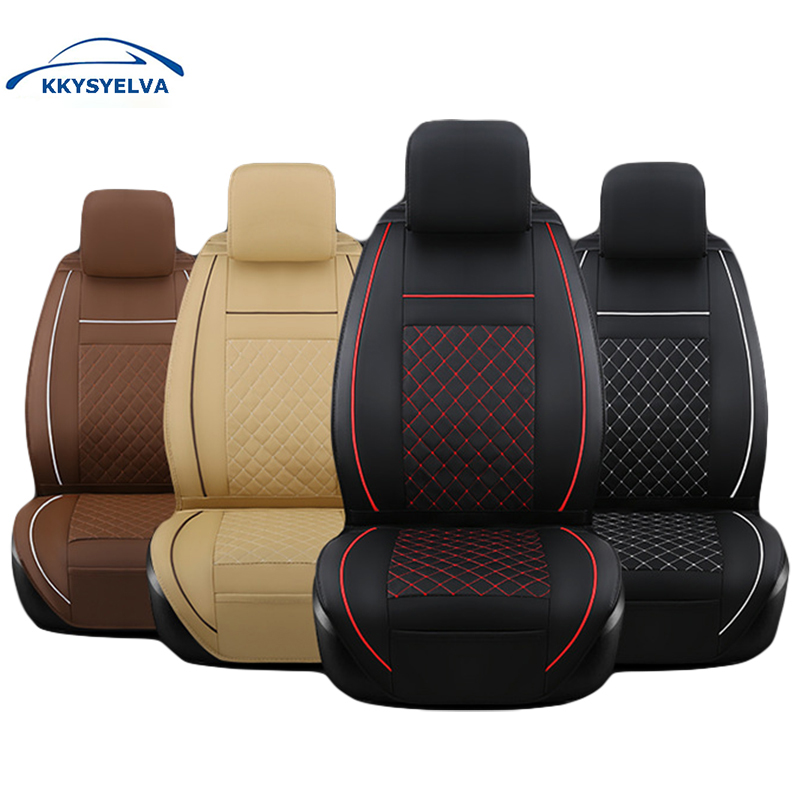 KKYSYELVA Universal Leather Car Seat Cover Set for Toyota Skoda Auto driver seat cushion Interior Accessories