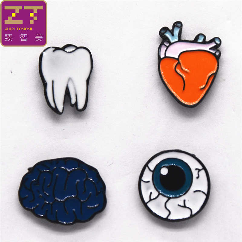 2018 New Hot Fashion Brooch Bijoux Human Organs Teeth Brain Heart Eyes Brooches Collar Pin Cufflinks Jewelry For Men And Women
