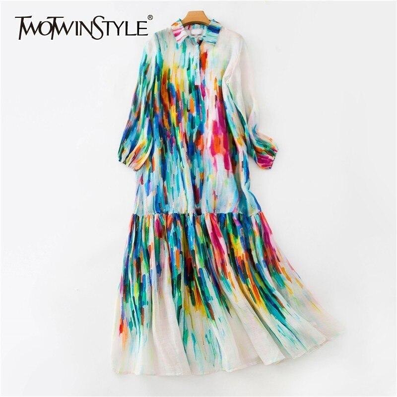 Deuxtwinstyle été coloré femmes robe revers lanterne manches bouton lâche cheville longueur robes femme mode 2019 nouvelle marée