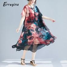 Erregina Summer Women Chiffon Dress Lnk Floral Print Long Female Short Sleeve Vestidos Chinese Style Fashion Plus Size Loose