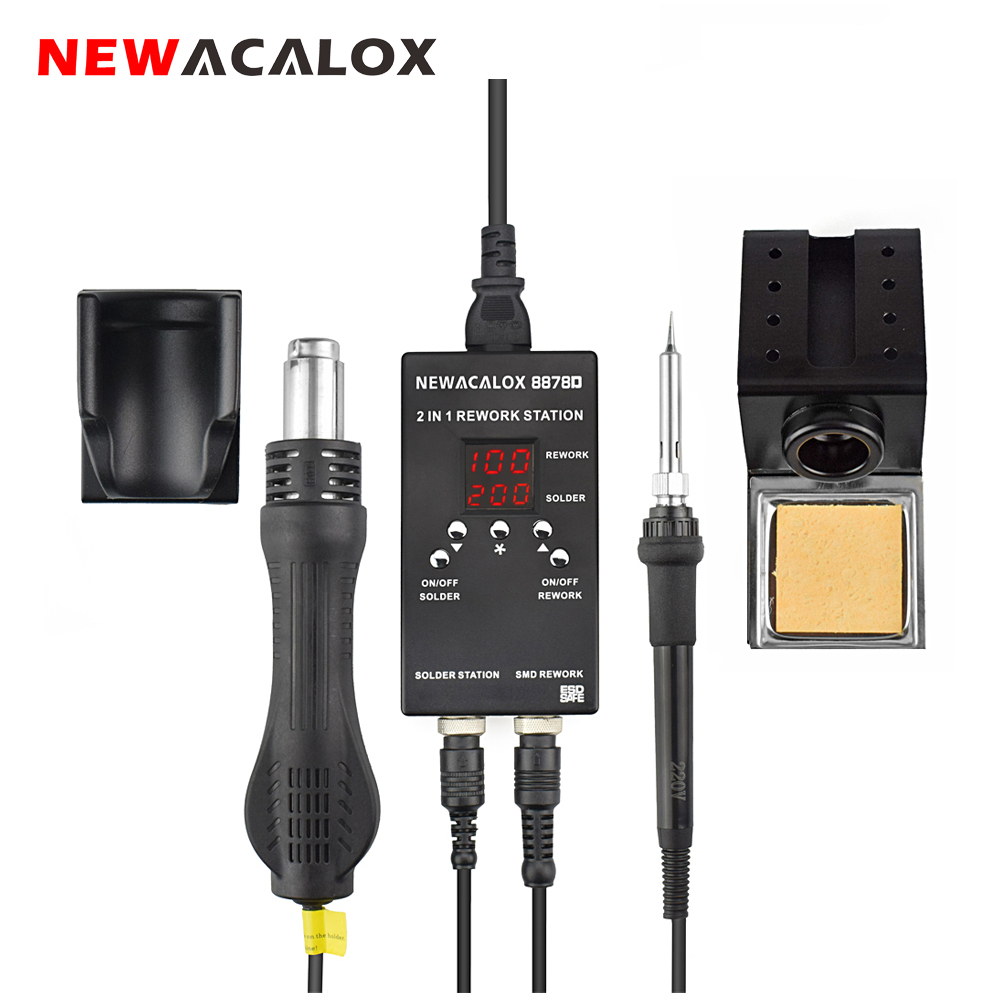 NEWACALOX 700W Mini Soldering Station Digital 2 In 1 SMD BGA Rework Welding Station Hot Gun Soldering Iron PCB Preheater Tool