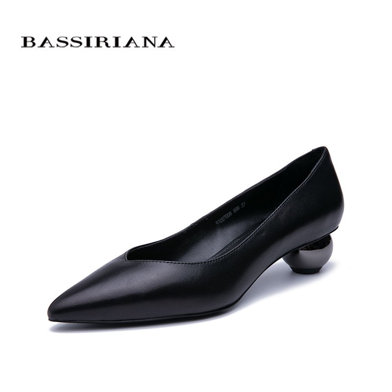 BASSIRIANA Spring New Elegant Natural Leather Woman Shoes Shallow Mouth Pointed Toe Unique High Heels