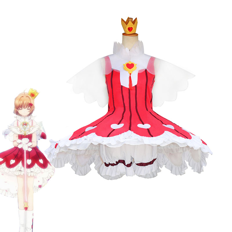 Anime Card Captor Sakura Clear Card OP2 Sakura Cosplay Costume Rose Gamble Suit Girls Cute Red Dress Halloween Carnival Uniforms