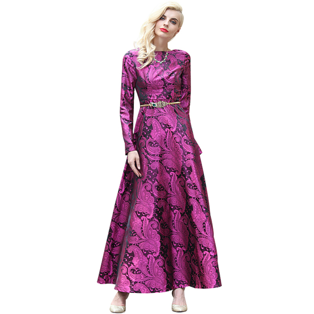 141906ceacc S-XXXL Autumn Women Long Sleeve Maxi Dress Plus Size Clothing Luxury  Jacquard Purple Fit