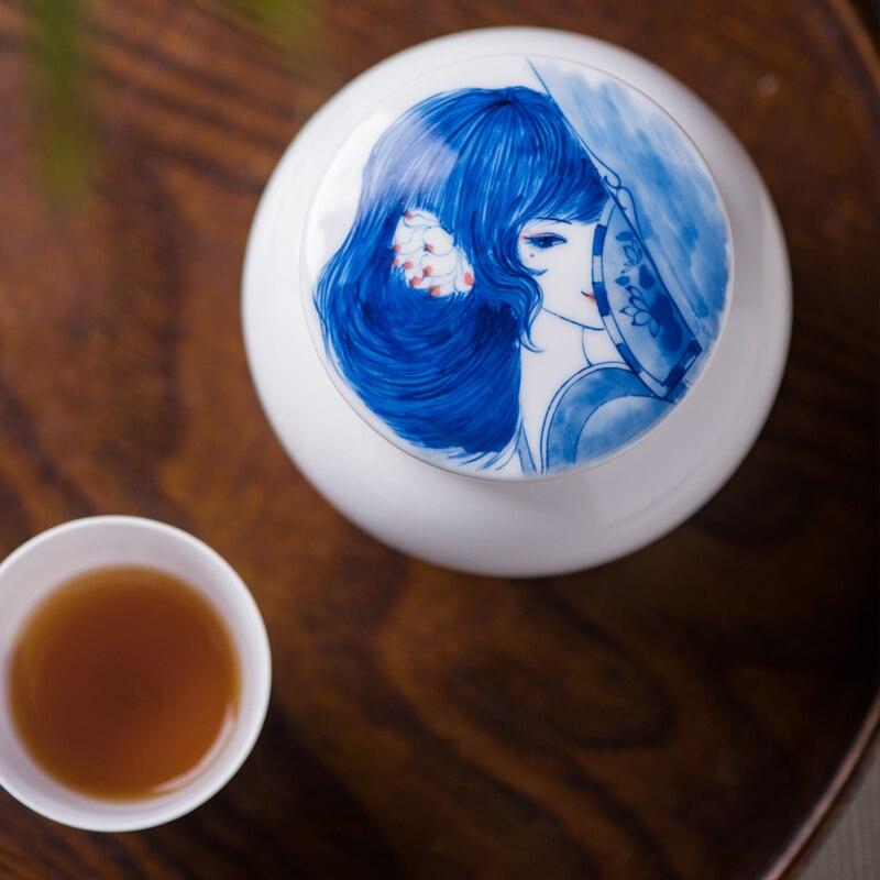 Jingdezhen peint à la main antique beauté thé stockage pot en céramique porcelaine Tieguanyin Dianhong réservoirs canettes thé cérémonie accessoires - 5