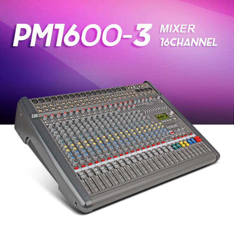 New Top quality PowerMate 1600 3MIDI in out 16 way power with amplifier Mixer effect Group