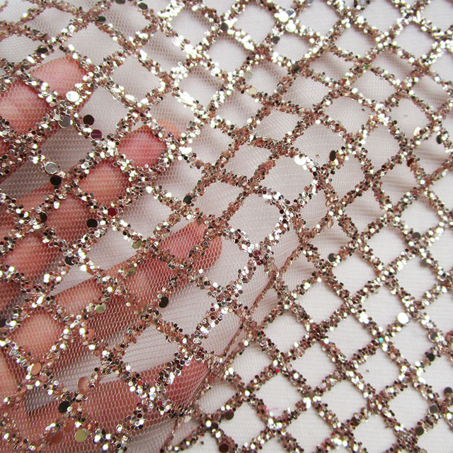 New plaid nude glitter print mesh fabric fashion glue sequin shining lace  fabric french evening dress net fabric sewing cloth ee341c0c4bd2
