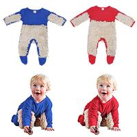 Newborn Kids Autumn Winter Clothes Baby Boys Girls Floors Cleaning Mop Clothes Long Sleeve Blue Red