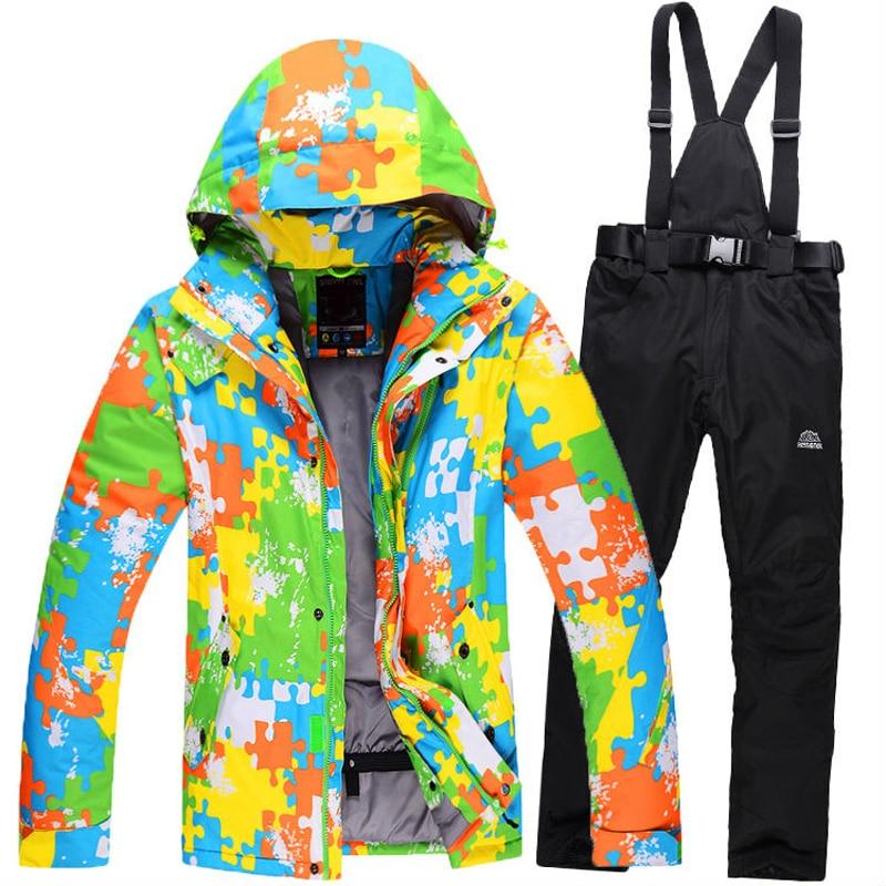 Prix pour 2017 Veste Hommes 6 Couleurs Nouveau Style Hiver Homme Combinaison De Ski Épaississement Chaud Coupe-Vent Respirant Snowboard Vêtements