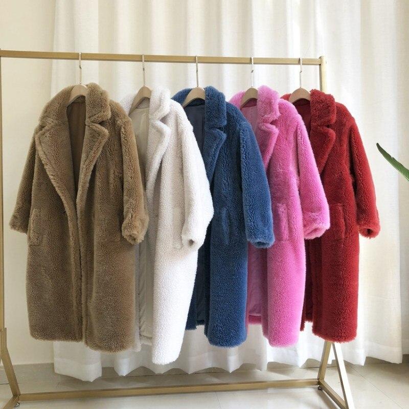 Luxe réel fourrure vestes femmes mouton fourrure manteau lâche mode de luxe chaud épais 2019 vêtements de sortie d'hiver Parkas revers femmes pardessus