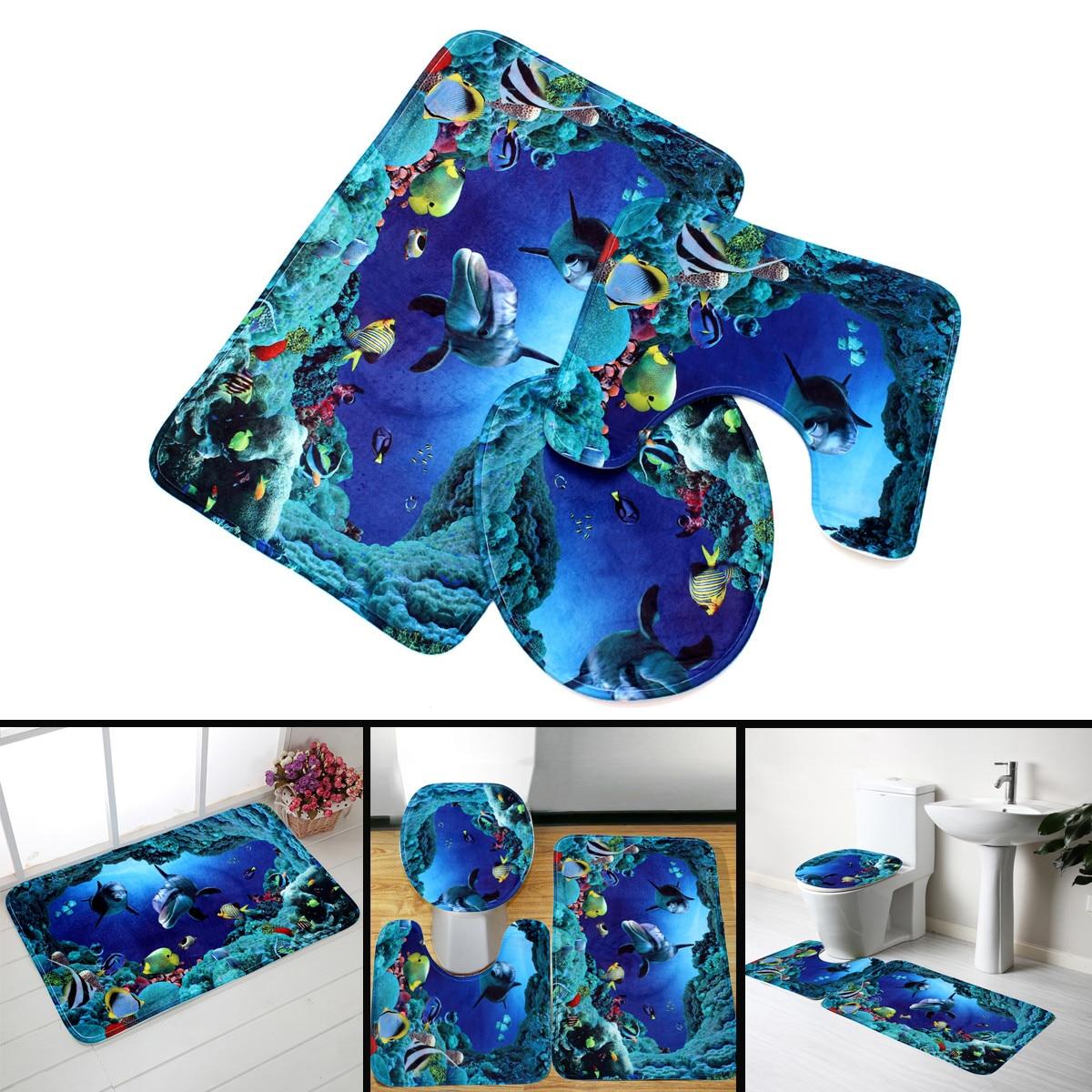 180x180cm Deep Sea Shark Bathroom Shower Curtain Toilet Non Slip Cover Mat Set