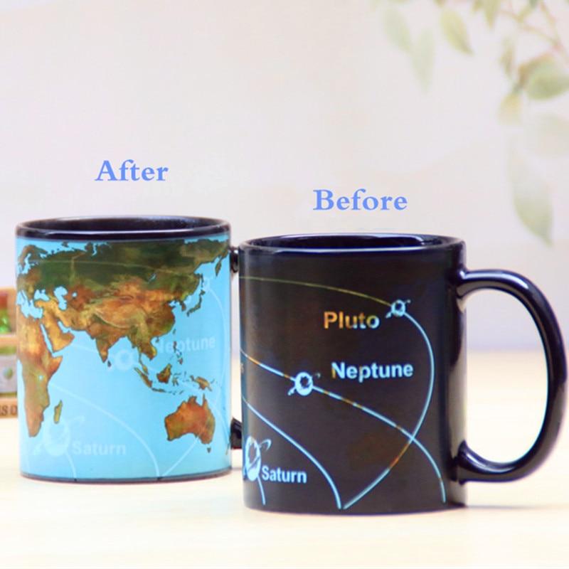 Transhome creative ceramic coffee mug 380ml porcelain color changing star solar system discoloration 350ml coffee cups magical changing color ceramic mug world map chameleon milk gumiabroncs Image collections