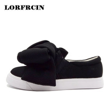 LORFRCIN Fashion Women Flats Super Big Bow Woolen Shoes Woman Platforms Shoes Slip On Loafers Confortable Woman Shoes Creepers(China)