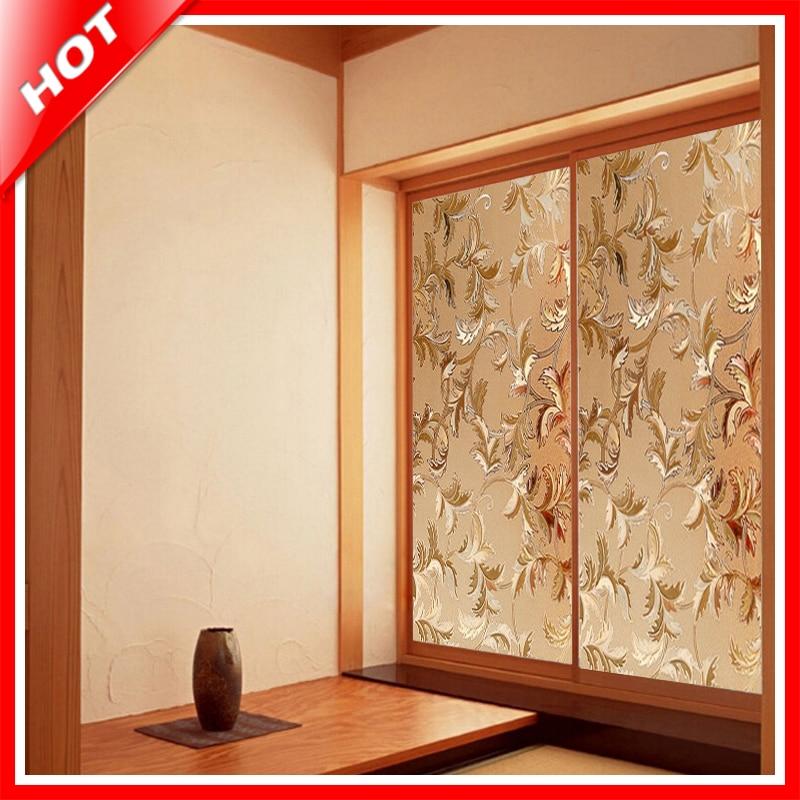 Fashion 45*100cm Flower Stained Glass Film Decorative