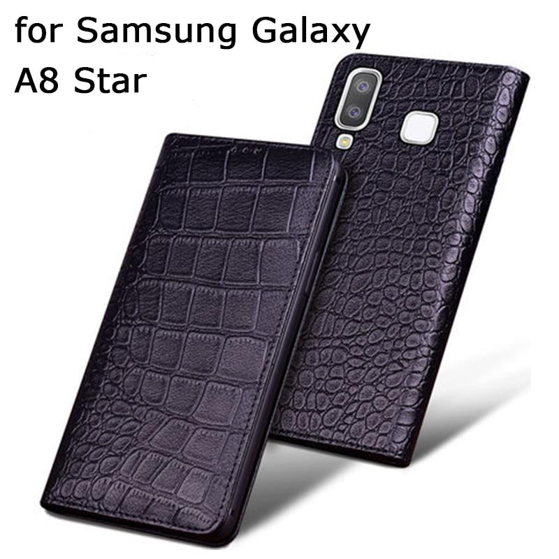 Original Crocodile Print Case for Samsung Galaxy A8 Star Case Genuine Cow Leather Cover for Samsung Galaxy A8Star Flip Bag Skin