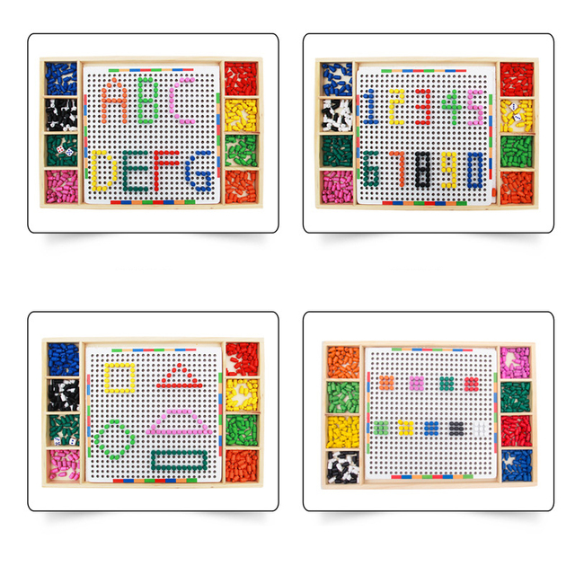 Baby Wooden Puzzle Kids Educational Toys for Children Mushroom Nail Combination Spell Board Toy Multi-functional Wisdom Platter