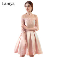 6 Colors Customized Cheap A Line Short Stain Prom Dresses With Sleeve 2017 Plus Size Fromal