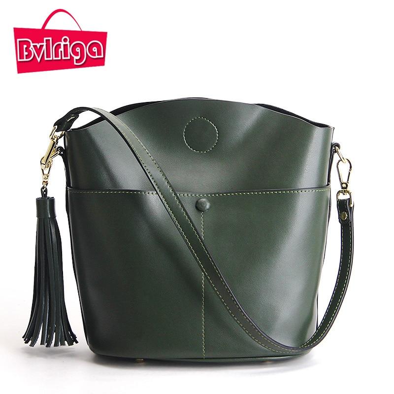 ФОТО BVLRIGA Genuine Leather Bag Handbag Women Messenger Bags Tassel High Quality Women Shoulder Bags Handbags Luxury Brand Bag Women