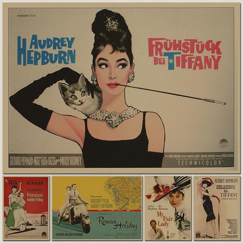 Retro Poster Vintage Retro Matte Kraft Paper Antique Poster Wall Sticker Home Decora Audrey Hepburn Movie Poster
