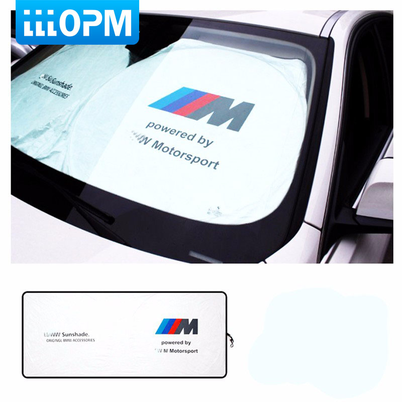 Car Sunshade Sun Shield UV-proof M Power Emblem Motorsport Performance Sunscreen Shade for BMW E30 E60 F30 E46 E39 E90 E36 4pcs set smoke sun rain visor vent window deflector shield guard shade for cadillac xt5 2016 2017