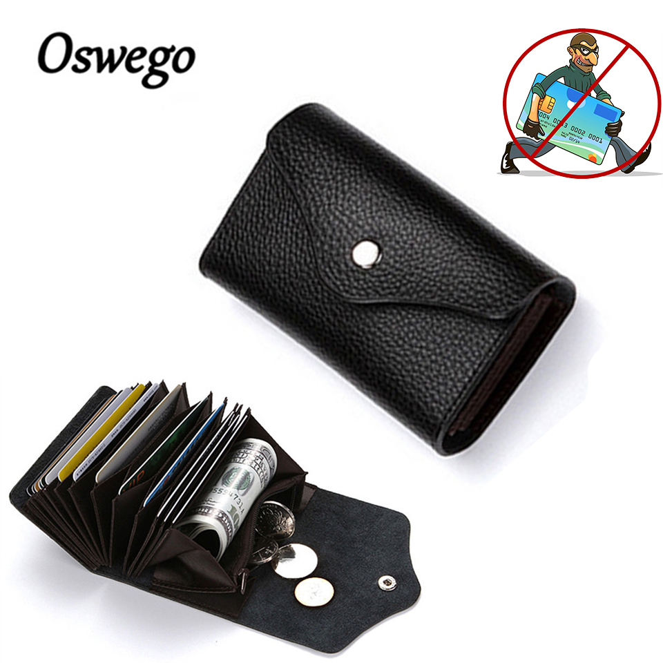 Oswego ID Card Holders Cow Leather Card Holder RFID Wallet Credit Bank Folder Organ Men Mini Business Bag Women Coin Purse fashion genuine leather men card holder cow leather card id holders business bank card holder minimalist wallet for credit cards