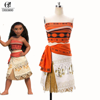 ROLECOS 2016 New Animated Movie Moana Cosplay Costumes Top And Skirt Set Women And Kids Princess