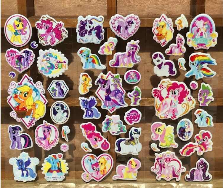 12 枚/ロットマイ · リトル · ホースステッカー漫画アニメおもちゃの少女ポータブル荷物スケートボードポニー 3D バブルステッカー