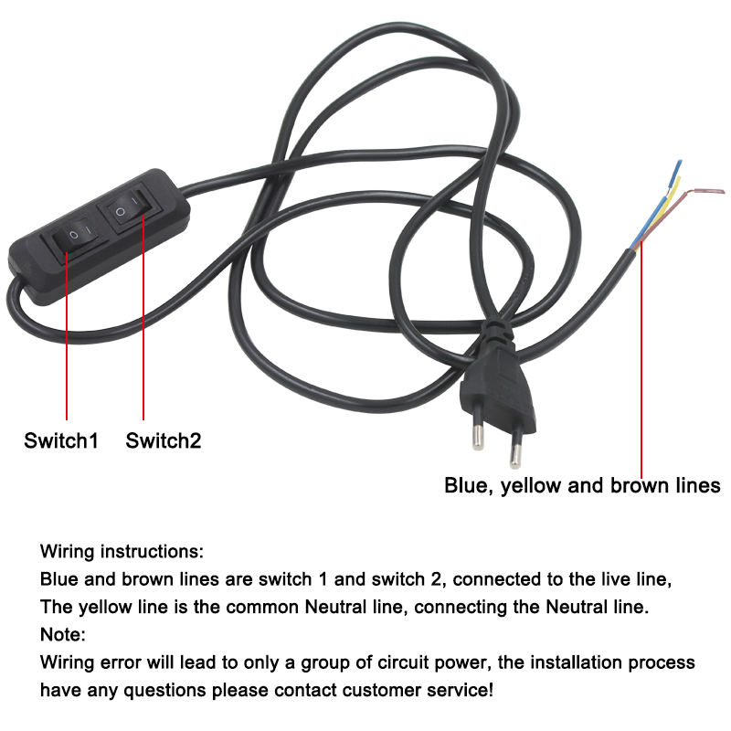 2 Roads Double Buttons Switch Wire Plug Line cable LED Lamp Power ...