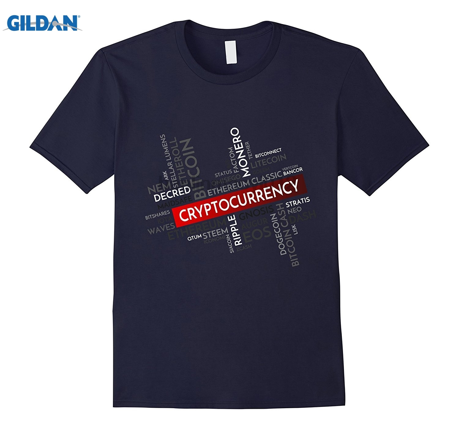 GILDAN Bitcoin Ethereum Litecoin Crypto Word Cloud T-Shirt Dress female T-shirt ...