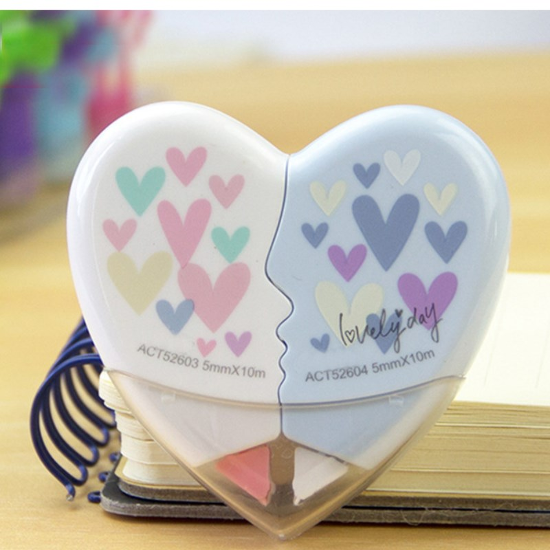 Cute Heart To Heart Love Correction Tape Stationery Office School Supplies Papelaria 10M Stationery Novelty Office Kids