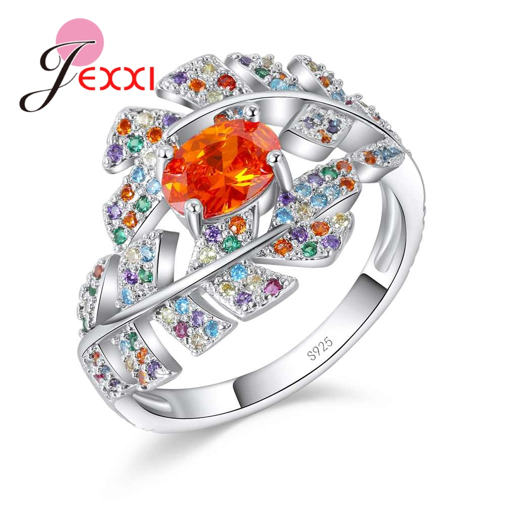 JEXXI 925 Sterling Silver Leaf Shape Crystal Design Sense Orange Color CZ Zircon Ring Wo ...