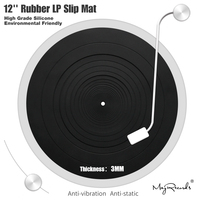 12'' LP Anti vibration Silicone Pad Rubber LP Slip Mat for Phonograph Turntable Vinyl Thickness 3MM Flat Soft LP Mat