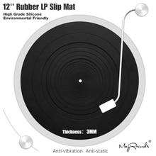 Almohadilla de silicona antivibración LP de 12 pulgadas, slipmat para LP de goma para fonógrafo giradiscos, espesor de vinilo, esterilla plana suave LP de 3MM