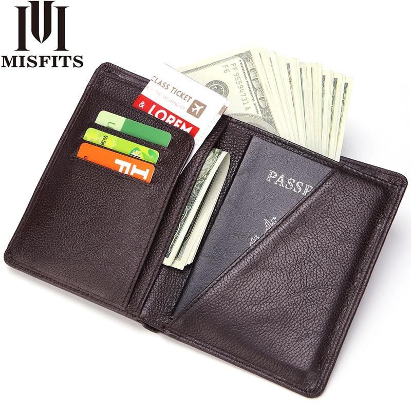 MISFITS Hommes Véritable Couverture Du Passeport En Cuir D'affaires Portefeuille mâle De Mode Conception Passeport Titulaire Lumière Mince ID de Licence Titulaire de la Carte