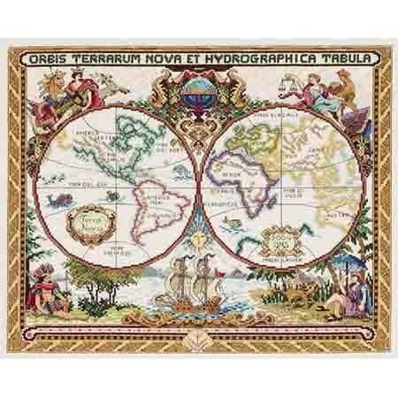 11CT natančno natisnjena krpa Home Decoration DIY Vezenina Art Evropski krajinski vzorec map Cross-Stitch Kit T087
