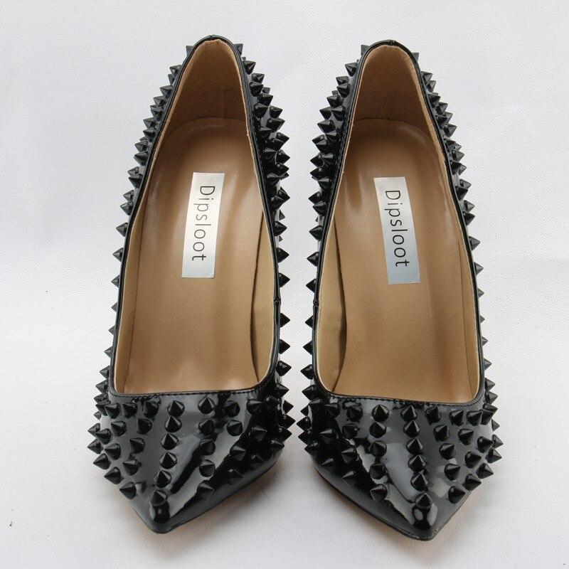 12cm 10cm Pleins Dipsloot Pompes Noir Bout Cuir Dame Mariage Mariée Rivets Sur Chaussures En Haute Verni Glissent Sexy Dames Pointu De 2018 Talons Femmes 8g0q8Bx