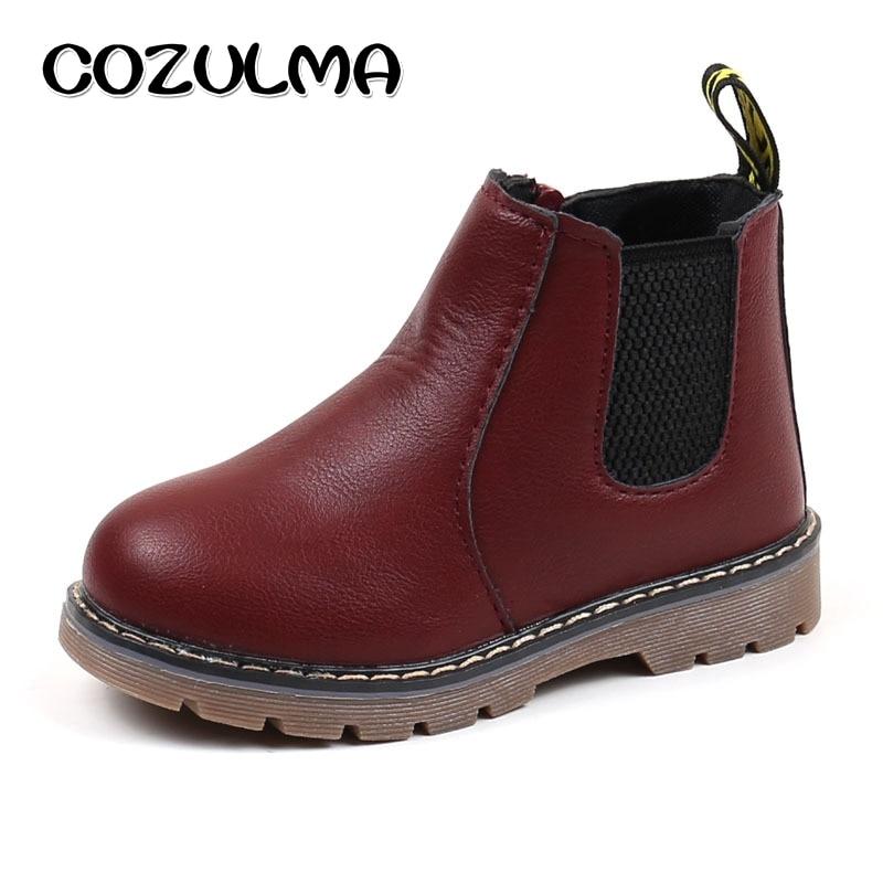 COZULMA Kids Winter Plush Boots For Girls Boys Martin Boots Autumn Children Chelsea Boots Shoes 4 Colors EU Size 21-36