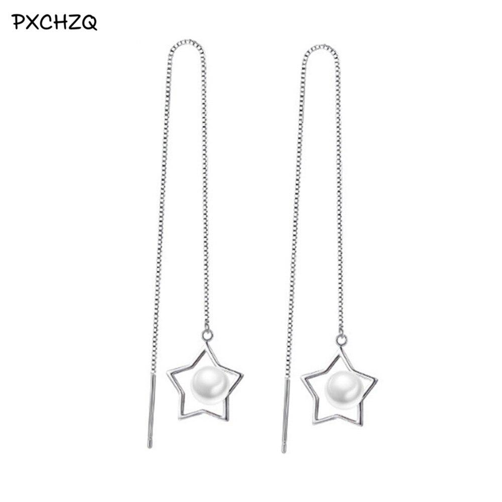 Fashion silver jewelry female Drop Earrings long exaggerated tassel imitation pearl earrings girls temperament sweet
