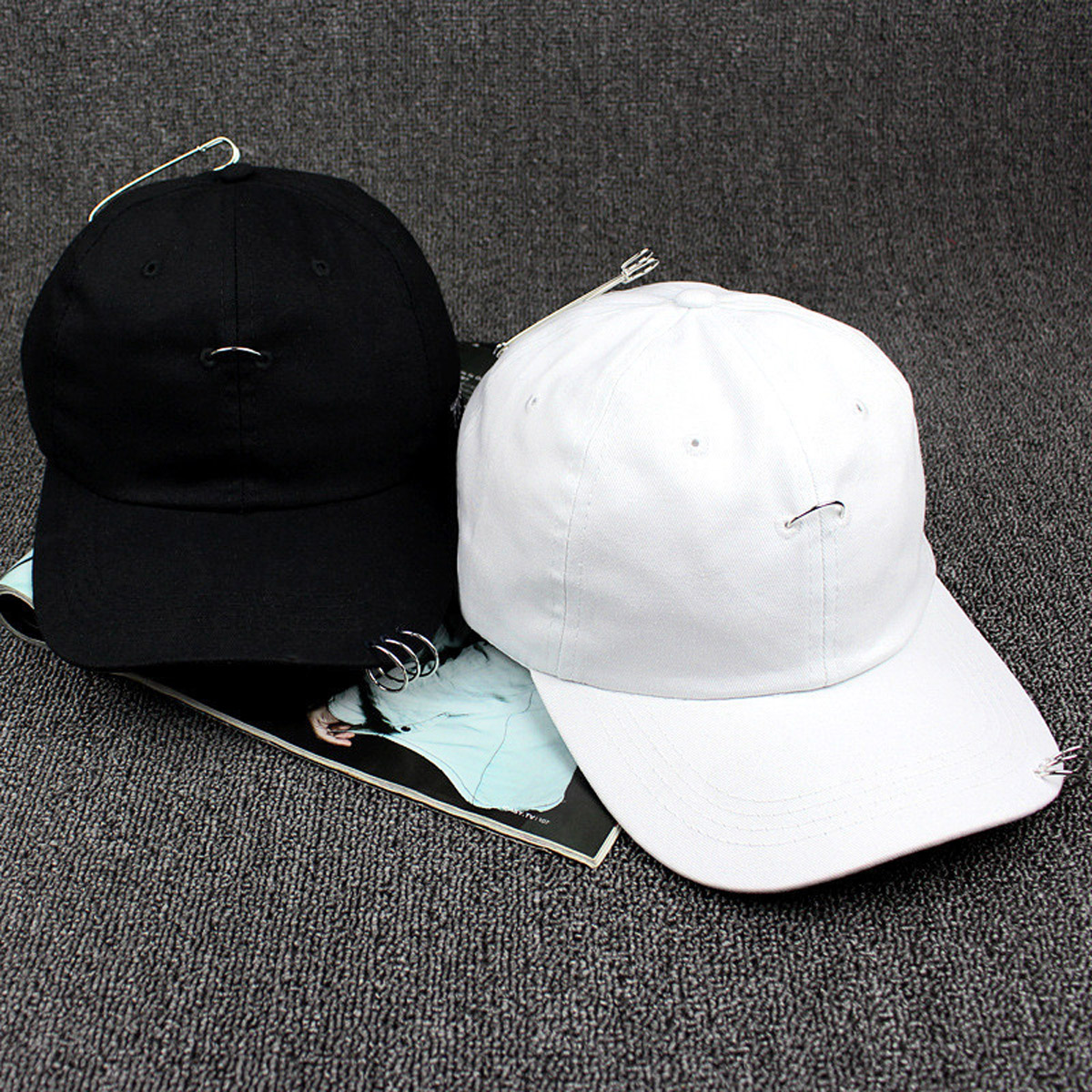 2758fd99cf082 2019 Summer Autumn Baseball Cap Icon Unisex Solid Ring Safety Pin ...