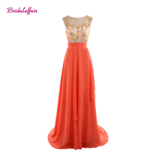 Real Photo Custom made Coral Chifffon Beads Appliques Scoop Neck Bridesmaid Dresses 2017 New Sweep Train Short Sleeve Party Gown
