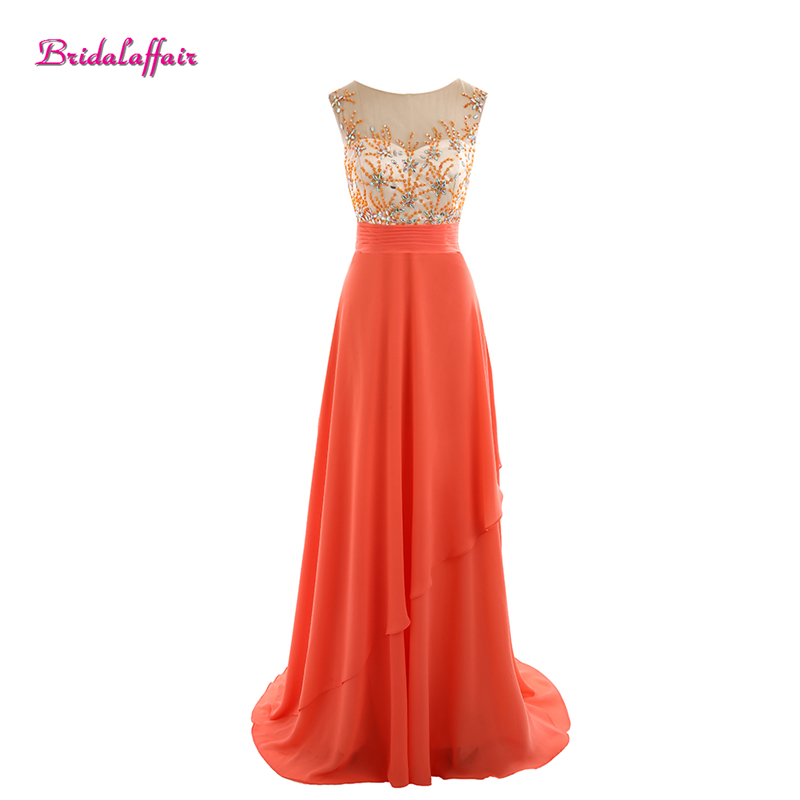 Bridalaffair Real Photo Coral Chiffon Beads Appliques Scoop Neck   Bridesmaid     Dresses   2017 New Sweep Train Short Sleeve Party Gown
