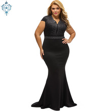 Ameision Plus Size Black diamond slim Evening Gowns 2019 Elegant V Neck Fishtail Long Beaded Dress With Sleeve
